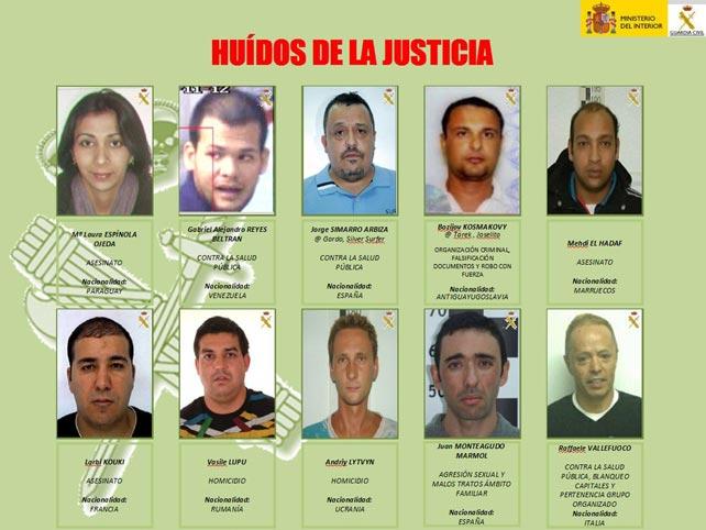 Infografía de los delincuentes más buscados facilitada por la Guardia Civil.
