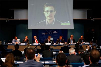 Edward Snowden durante su videoconferencia desde Moscú ante el Consejo de Europa.