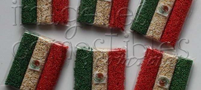 Barritas de amaranto con escudo nacional comestible