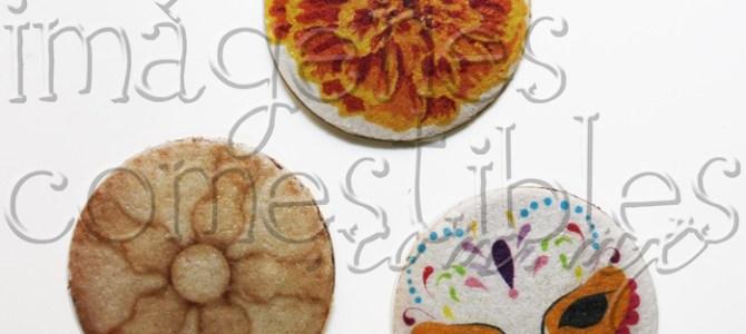 Obleas de cajeta con imágenes comestibles de día de muertos