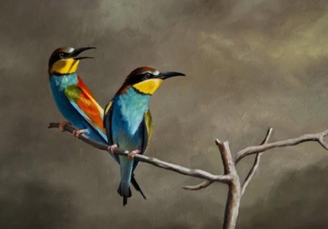 Foto de un cuadro al oleo de unas lindas aves