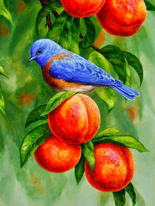 Imagen de pintura al oleo ave azul