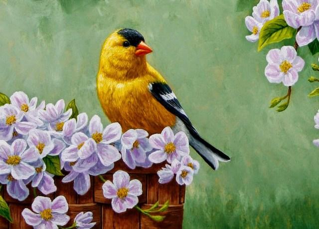 Imagen de un pajaro y flores pintado al oleo