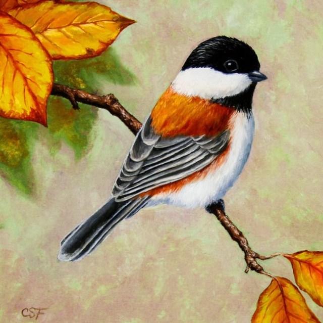 Pintura de un ave al oleo