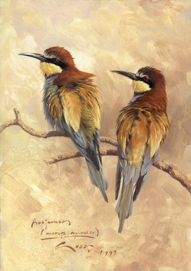 Imagen de cuadro al oleo de unas aves