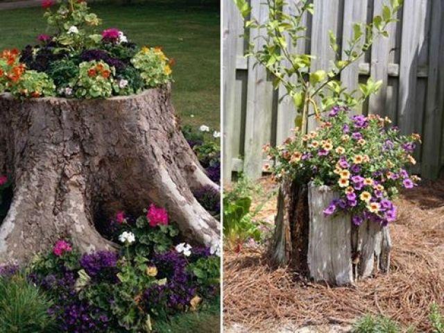 imagenes de jardines decorados con troncos