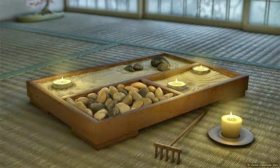 Foto jardin zen miniatura