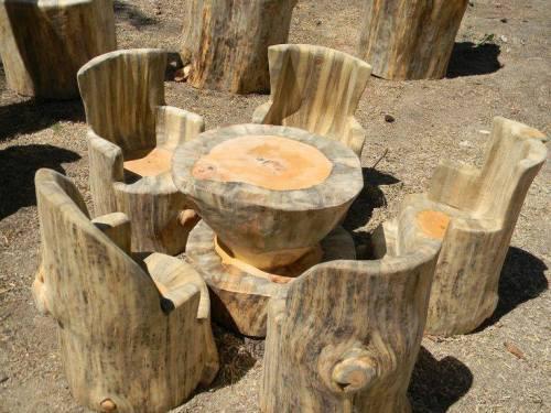 Imagenes de salas hechas con troncos para el jardin