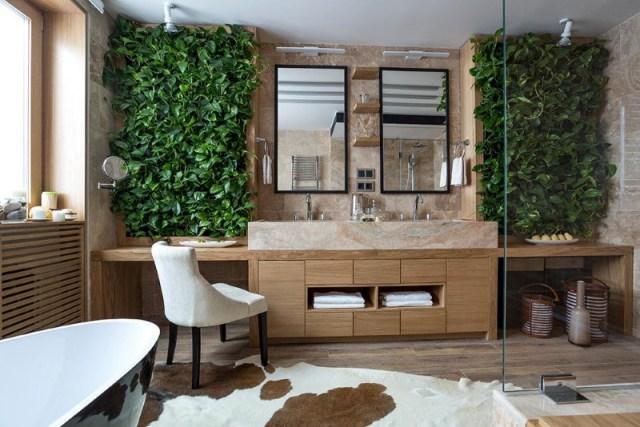 Imagenes de diseños de baños con jardin vertical