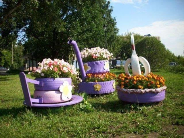 Fotos con ideas decorativas con reciclaje para el jardin de flores