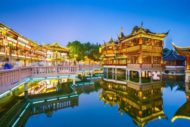 Jardin chino Yuyuan imagenes nocturnas