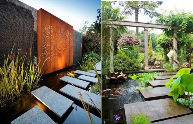 Imagenes con diseños de jardines con estanques