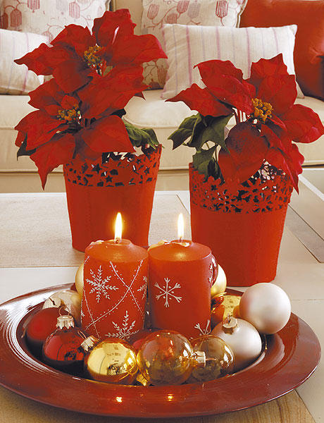 Imagenes de decoraciones navide as con flores de pascua - Imagenes de decoracion navidena ...