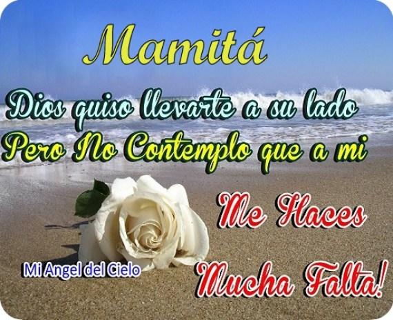 Dia de la madre rosa blanca con mensaje para mamá fallecida