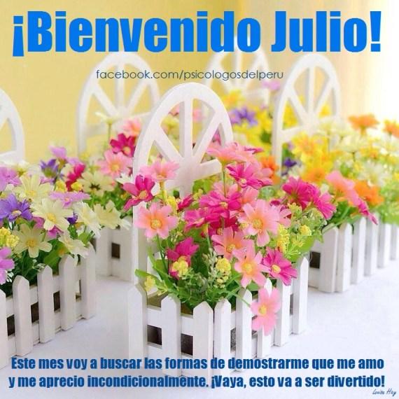 Bienvenido Julio Imagenes con flores