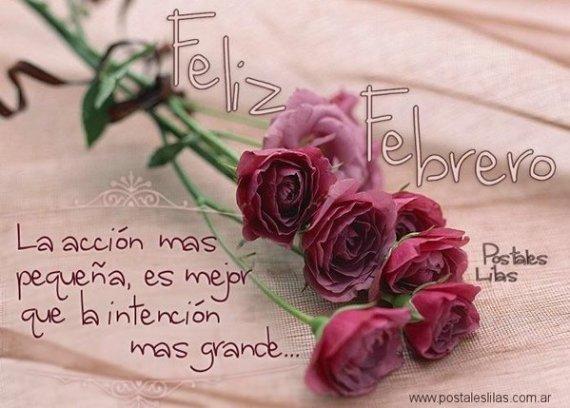 Rosas con mensajes feliz febrero