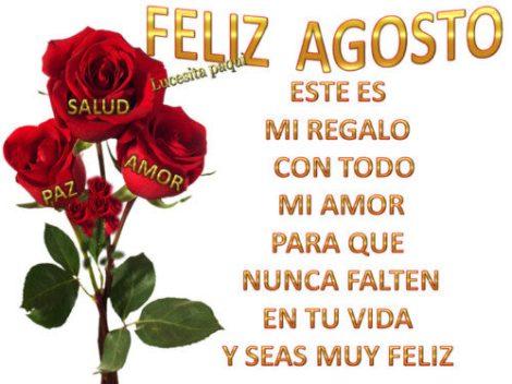 Imagen feliz agosto con rosas rojas y mensaje