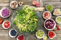 ensalada, frutas, bayas