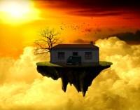 Mi casa en una isla flotante sobre un mar de nubes
