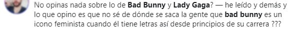 Comment on Lady gaga in song Anuel