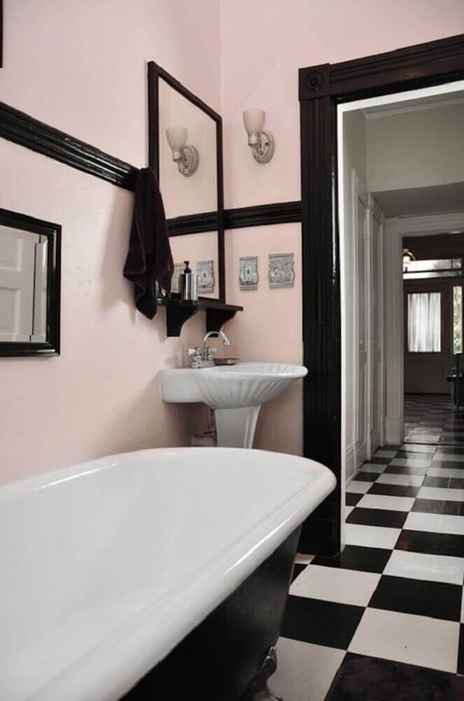 piso para banheiro xadrez