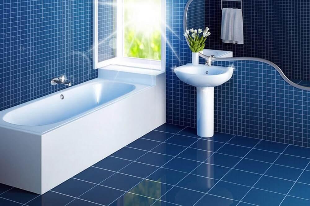 pisos para banheiro azul