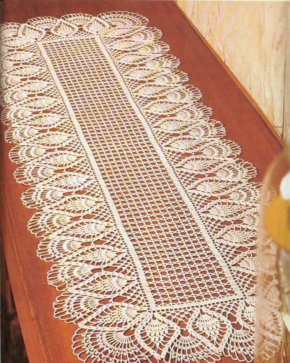 caminho de mesa de crochê branca comprida