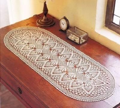 oval caminho de mesa de croche