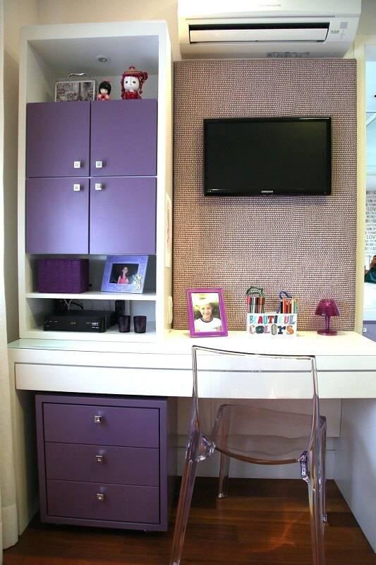 escrivaninha quarto de menina com gaveteiro roxo meyer cortez 84572