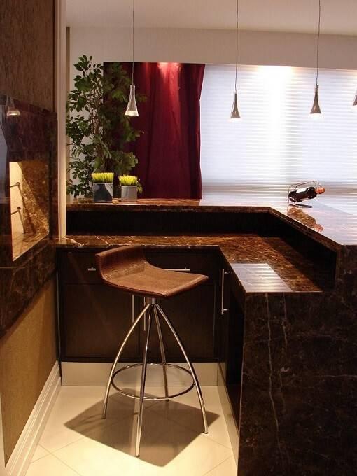 marmore na cozinha americana marrom livia gobetti 48942