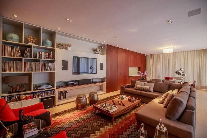 sala planejada com nicho para discos projeto de WT Studio