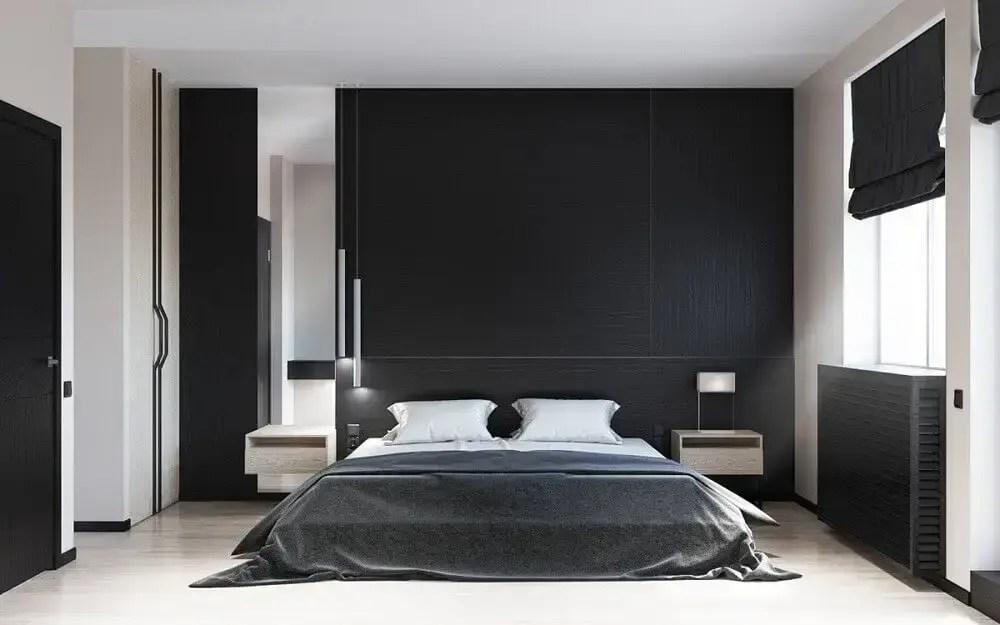 decoração de quarto com parede preta