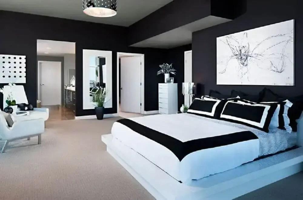 decoração de quarto preto moderno