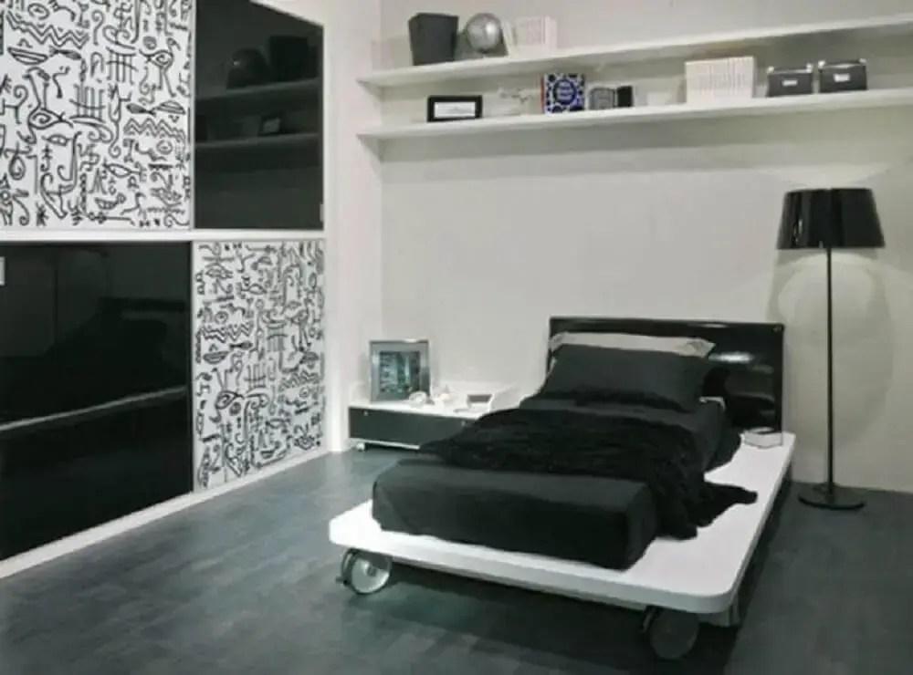 decoração de quarto preto simples