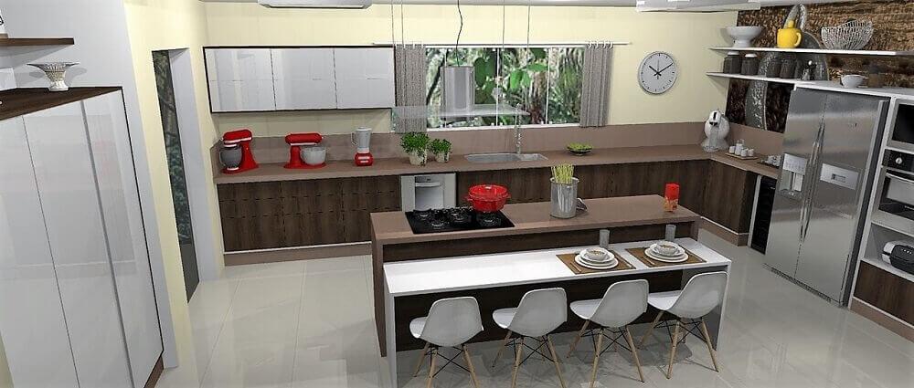 Espaçosa cozinha planejada com ilha