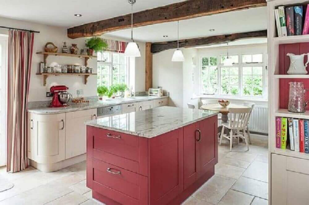 ilha vermelha para cozinha