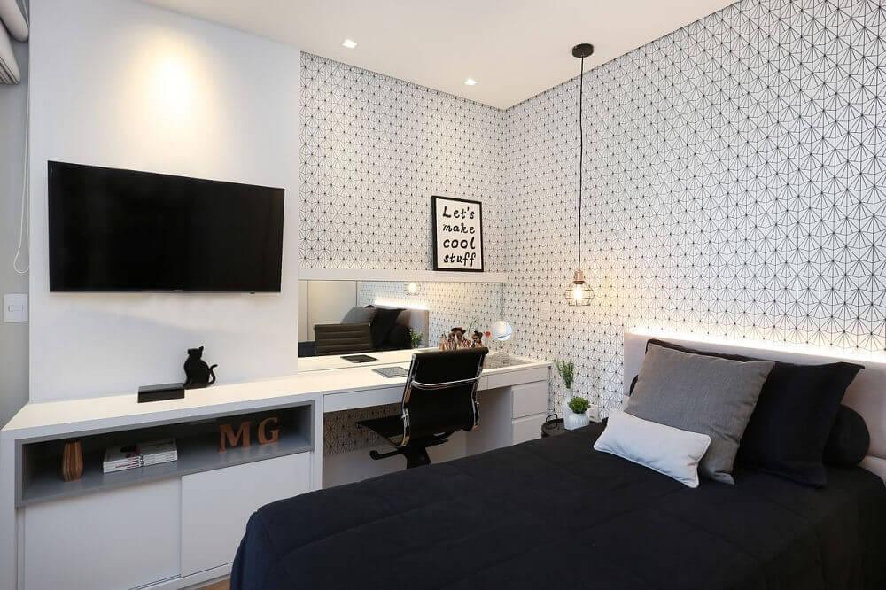 papel de parede estampado para quarto preto e branco