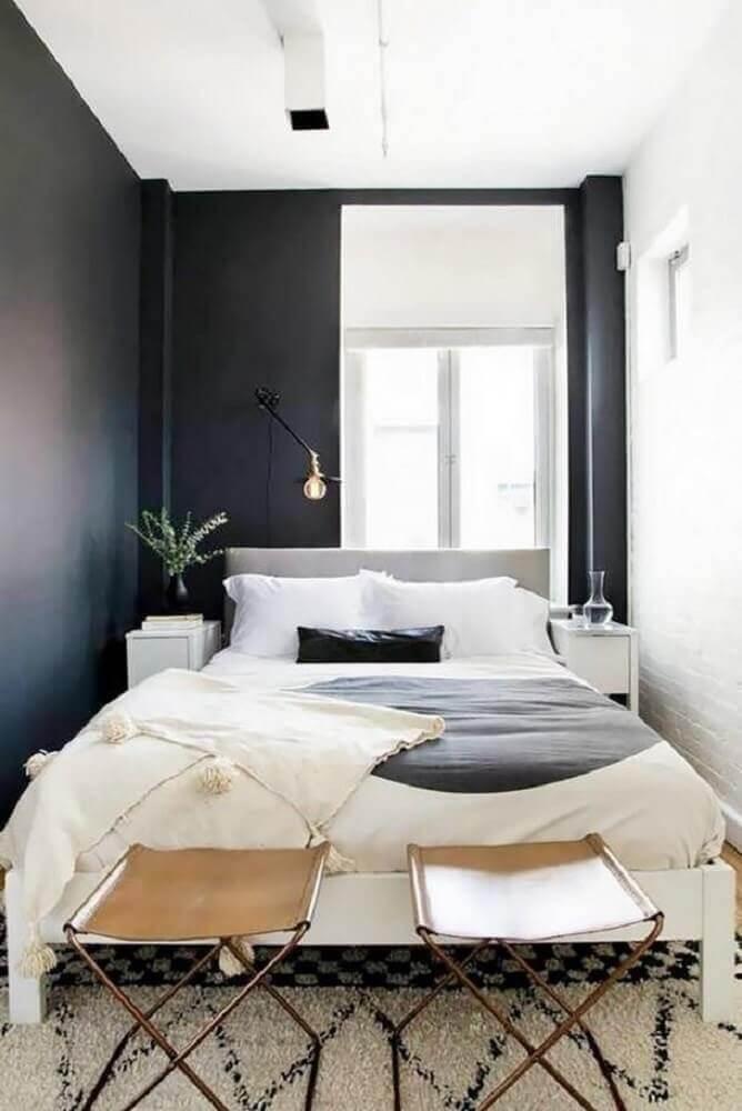 quarto preto e branco aconchegante