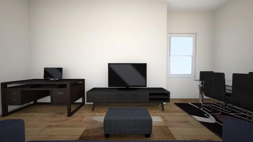 Rack retrô preto em sala com móveis escuros