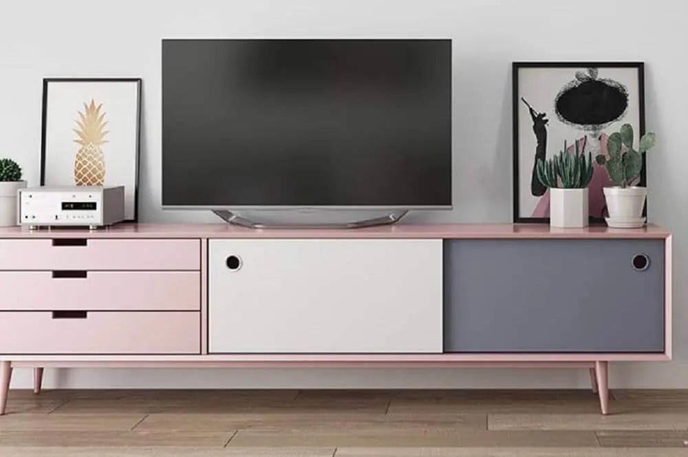 estilo de rack retrô para decoração minimalista