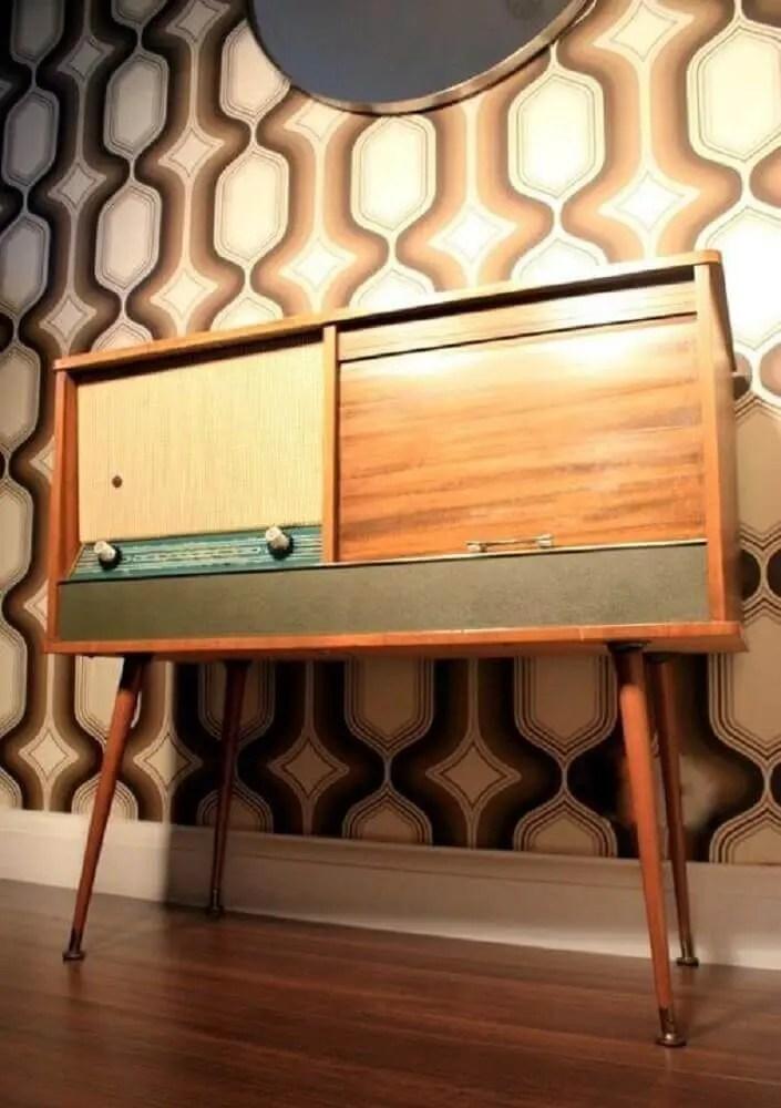 modelo de rack retrô de madeira com vitrola