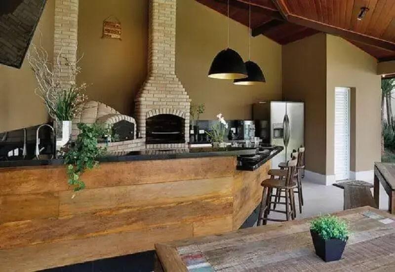 área gourmet rústica e espaçosa