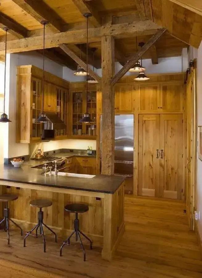 área gourmet rústica toda de madeira