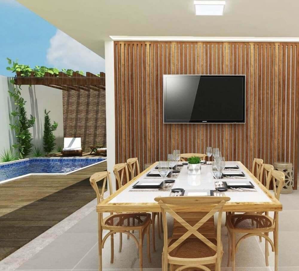 decoração simples para área gourmet com piscina