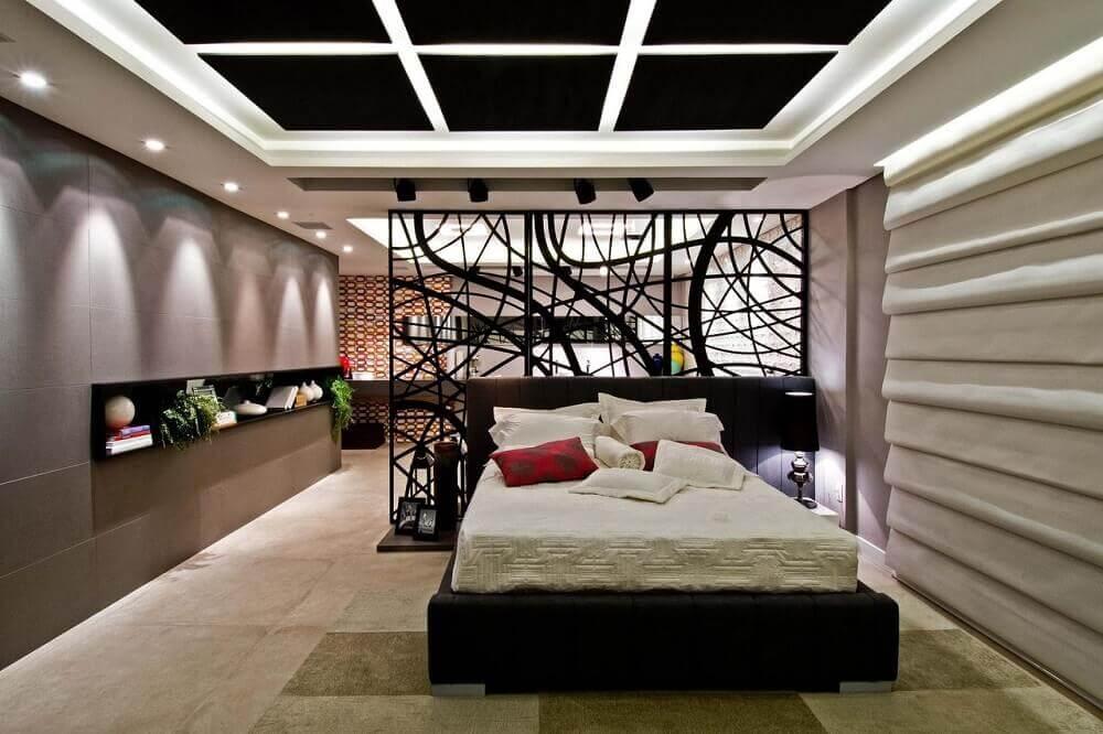 decoração para quarto moderno de casal com divisória vazada Foto Archdesign Studio