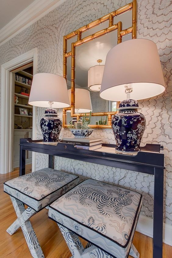 Sideboard with two blue table lamps