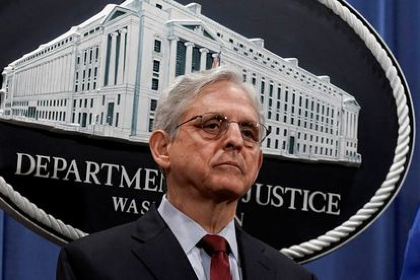 US Attorney General Merrick Garland during Monday's press conference.