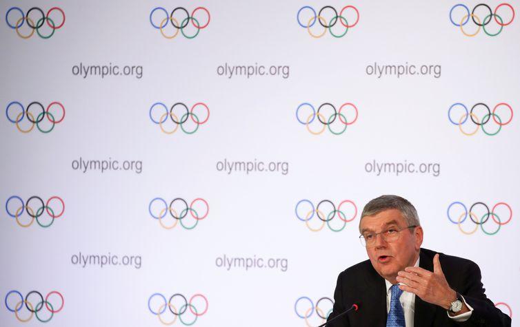 Presidente do COI, alemão Thomas Bach, fala sobre Jogos de Tóquio 2020