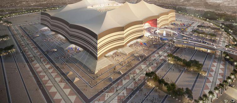 Estádio Al Bayt, local do jogo de abertura da Copa do Catar 2022