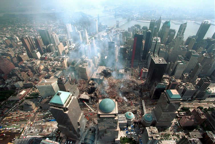 Aerial view of ground zero at the World Trade Center in New York on September 26, 2001. Fifteen days..